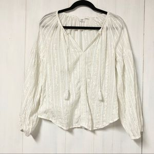 GAP Long Sleeve Peasant Top w Gold and Silver Sz X